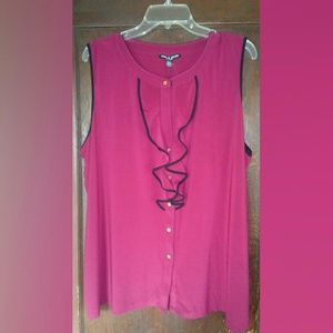 Cable & Gauge Red Sleeveless Blouse Sz 2x NWT